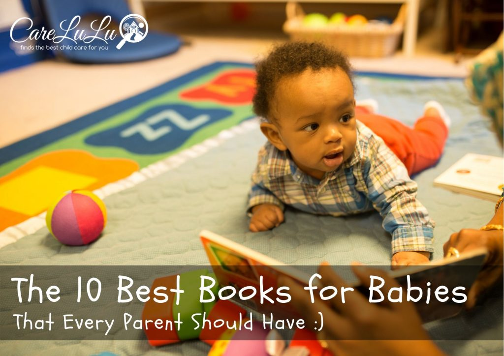 Infant reading a baby book on the floor at daycare, Best books for babies